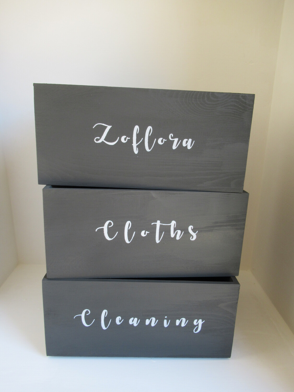 Cleaning storage bespoke boxes Mrs Hinch organise kitchen laundry boxes
