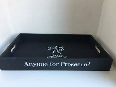 Anyone for Prosecco? decorative shabby chic wooden tray  Free UK P&P