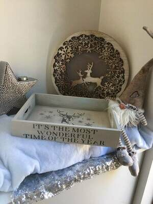 Its the Most wonderful time of the year Christmas decorative shabby chic wooden drinks tray