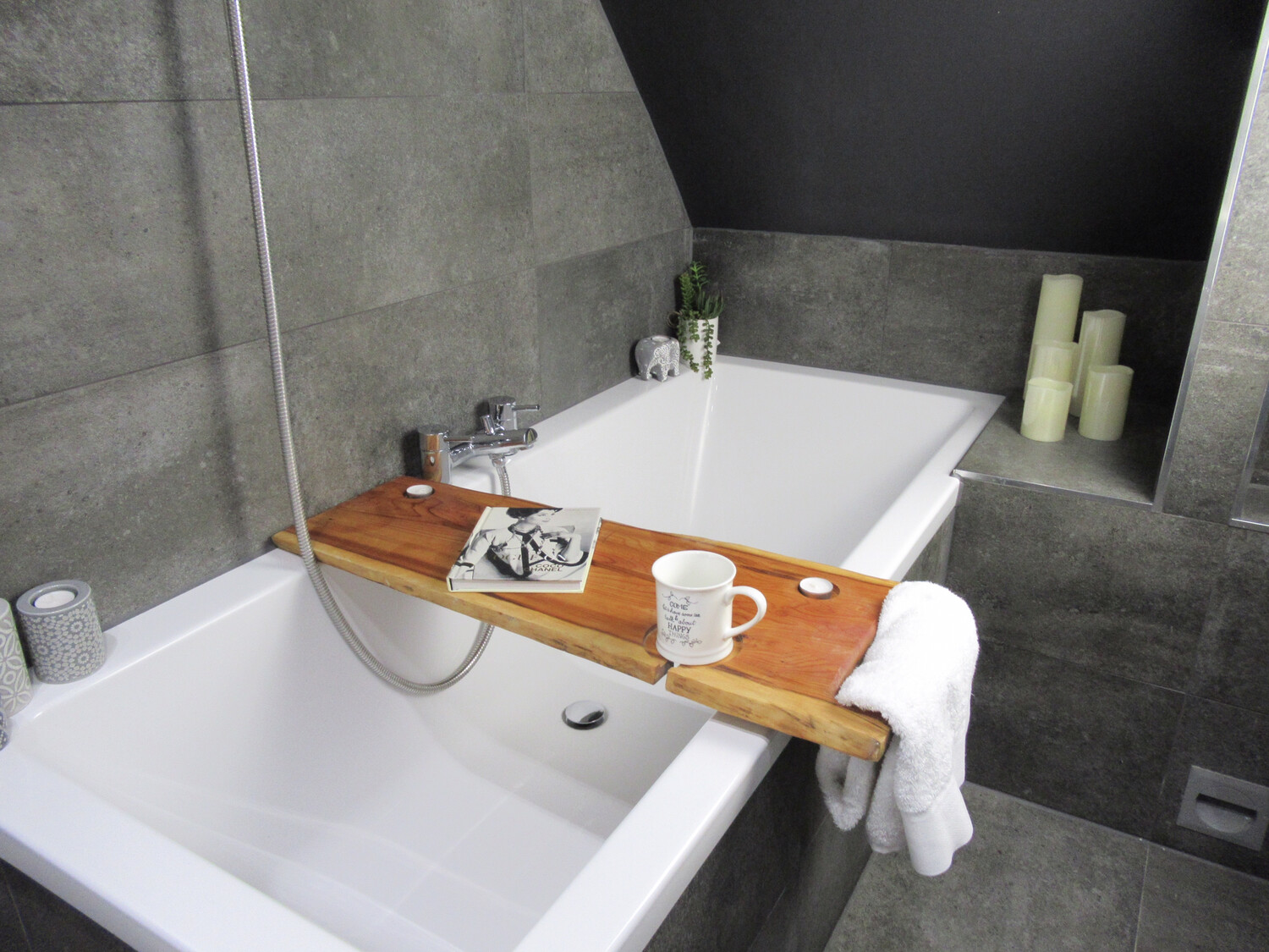 Double Live Edge Solid Yew wood Bespoke Rustic Bath Caddy Tray Tablet Holder