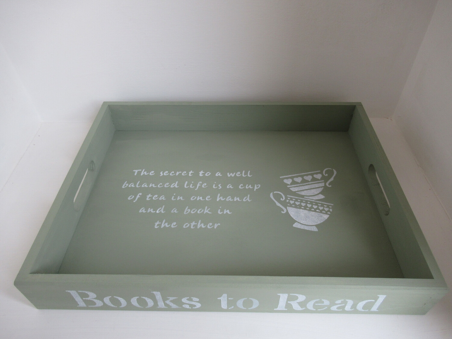 Books To Read decorative shabby chic wooden tray  Free UK P&P