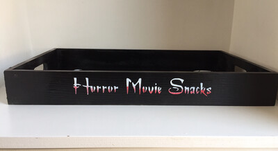 Happy Halloween Horror Movie Snacks decorative shabby chic wooden tray