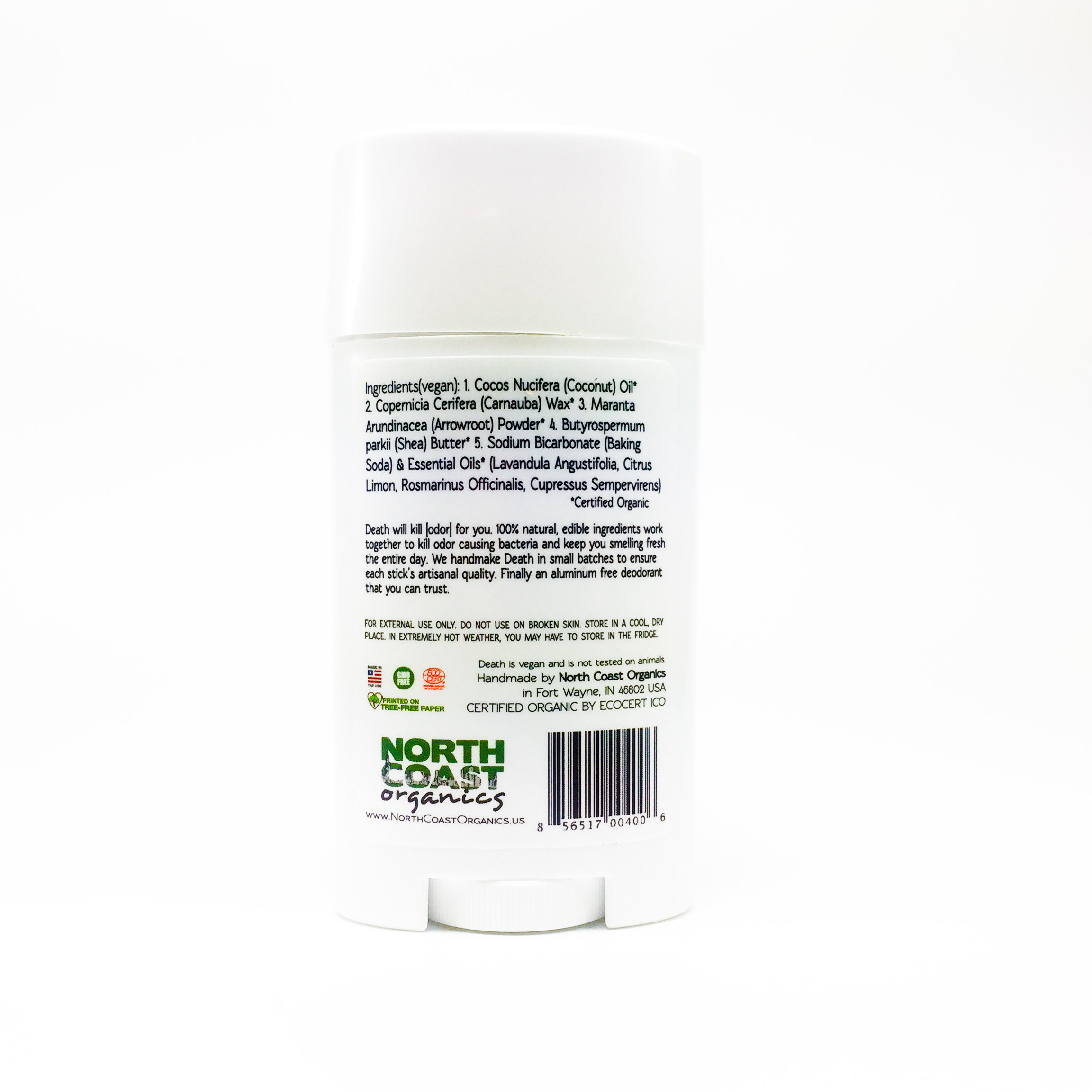 Death By Lavender Organic Deodorant Back Label