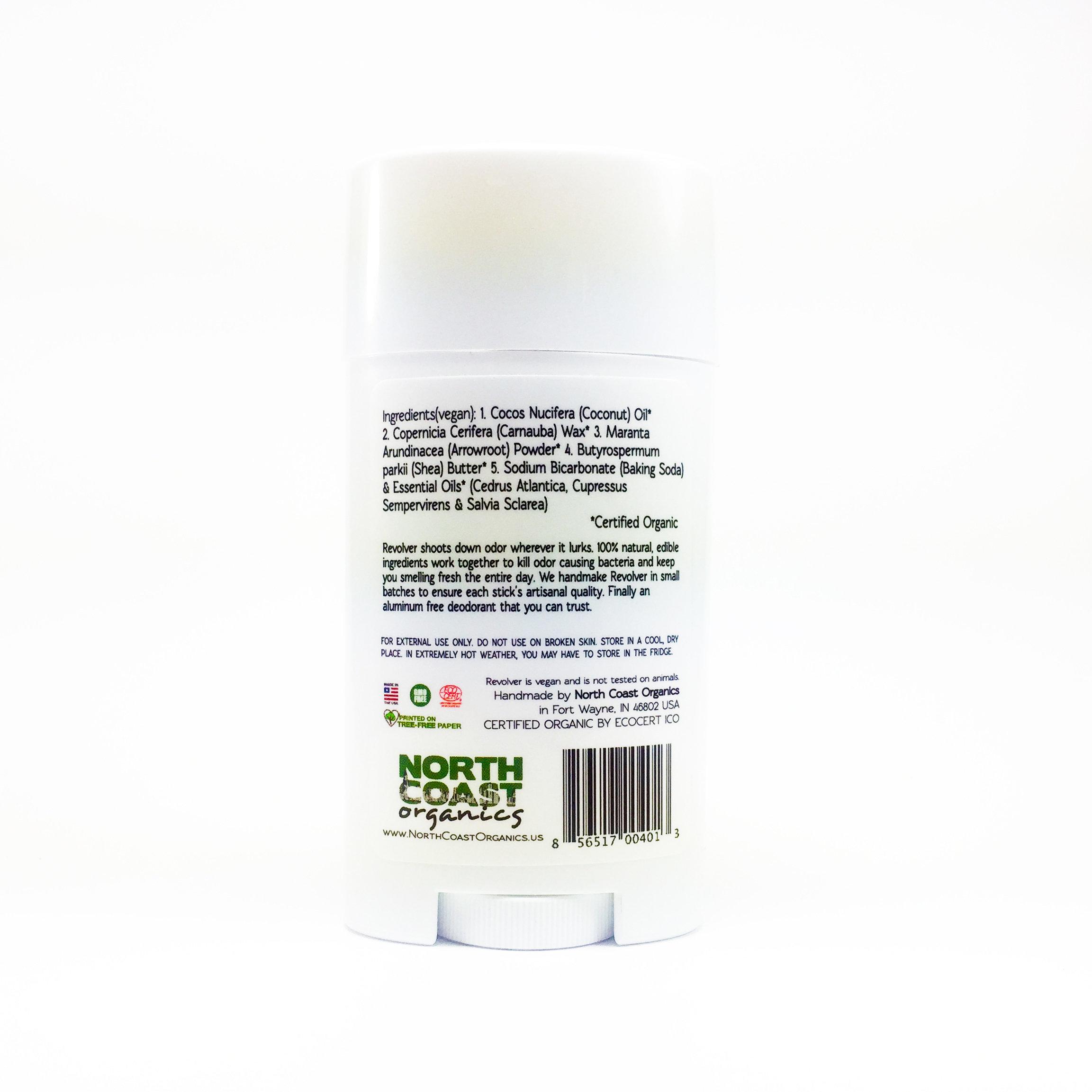 Revolver Organic Deodorant Back Label