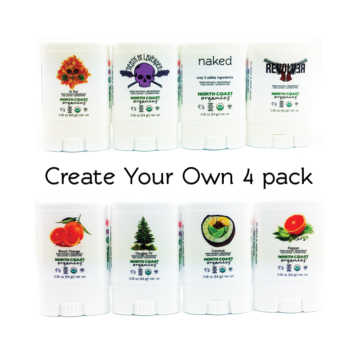 Organic Deodorant Travel Size 4 Pack - Mix & Match 9997