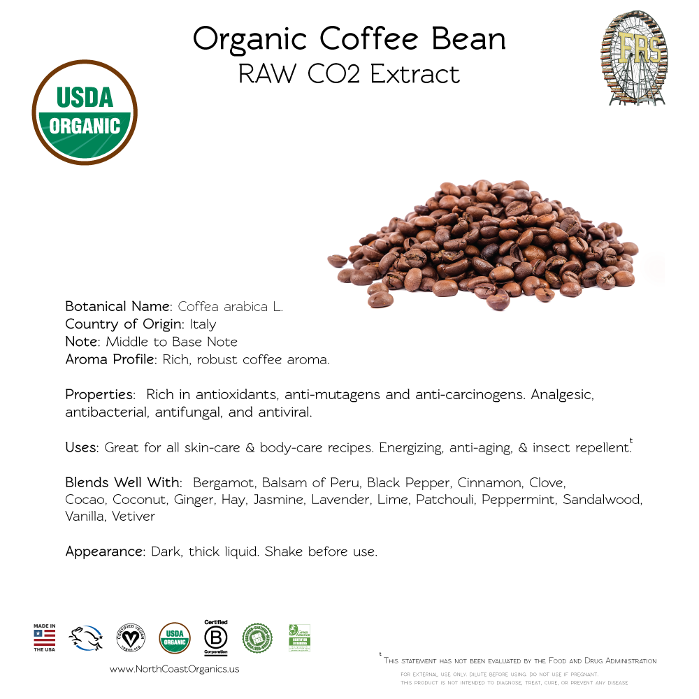 Organic Coffee Bean Essential Oil 10ml - Raw & CO2 Extract