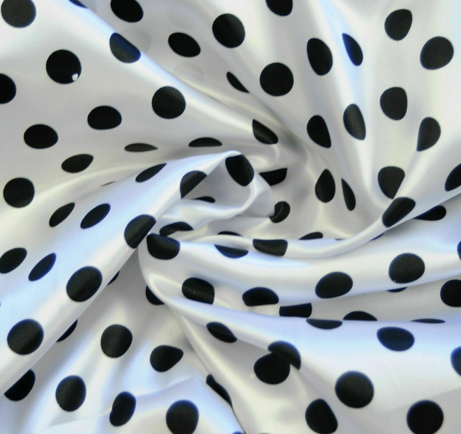 Polka Dot White Black SHINY SATIN 100% Polyester Pantie Lingerie Fabric 60