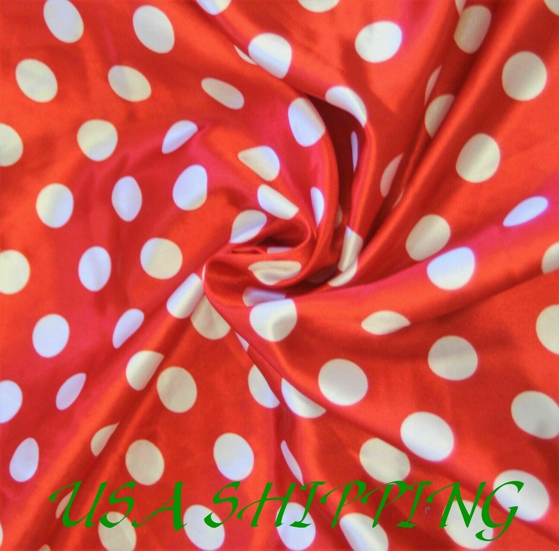 Polka Dot RED White SHINY SATIN 100% Polyester Pantie Lingerie Fabric 60