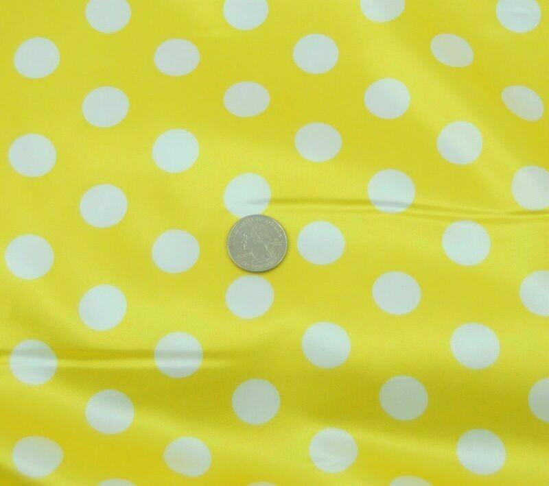 Polka Dot yellow w white SHINY SATIN 100%Polyester Pantie Lingerie Fabric 60