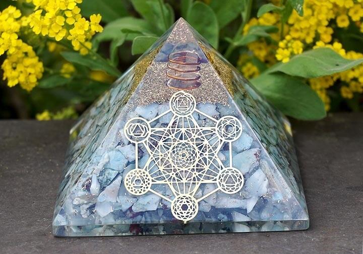 Orgone Pyramid in Larimar with Metatron's Cube