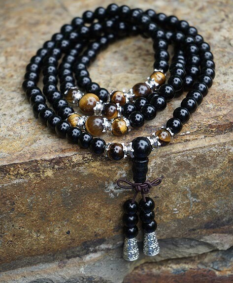 Black Obsidian and Tiger Eye 108 Prayer Beads