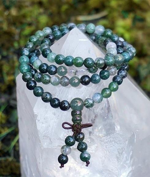 Moss Agate 108 Prayer Beads