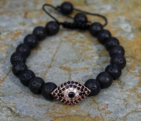 Evil Eye Bracelet in Lava Beads