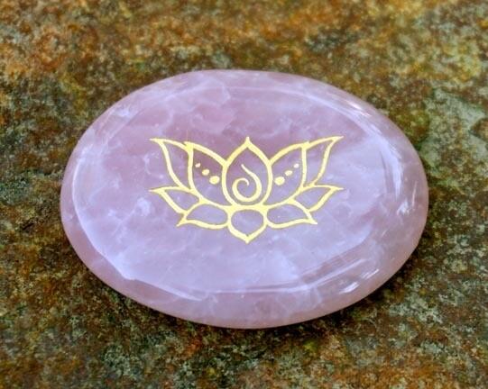 Lotus Palm Stone in Rose Quartz