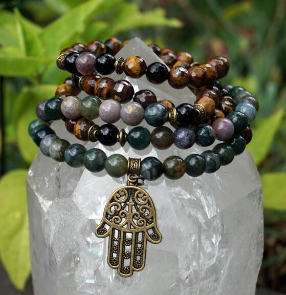 108 Prayer Beads with Hamsa