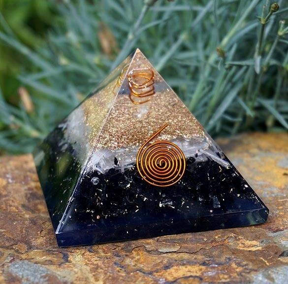 Orgone Pyramid in Selenite and Black Tourmaline