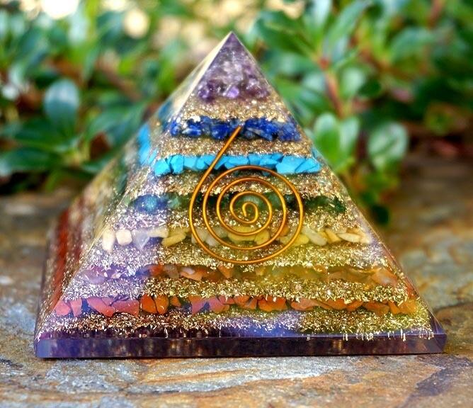 Large Orgone Pyramid in Chakras