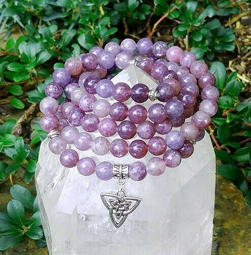 Triquetra and Lepidolite 108 Prayer Beads