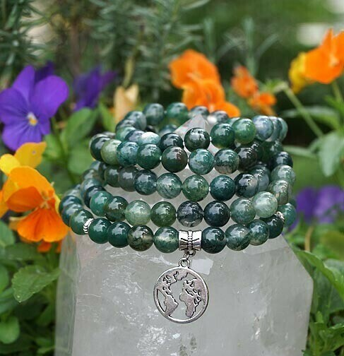 Mother Earth and Moss Agate 108 Prayer Beads