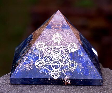 Orgone Pyramid in Lapis with Metatron's Cube