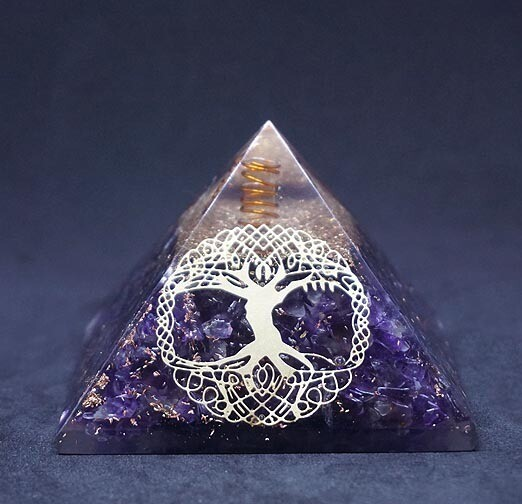 Orgone Pyramid in Amethyst with Tree of Life