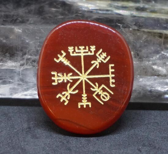 Viking Compass Palm Stone in Carnelian