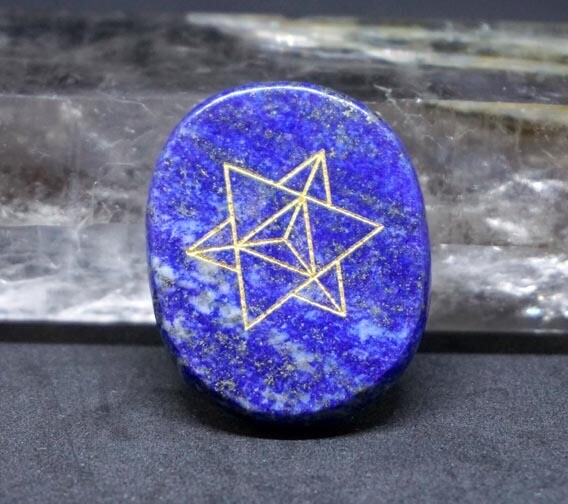 Merkaba Palm Stone in Lapis