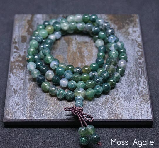 Moss Agate 108 Prayer Beads