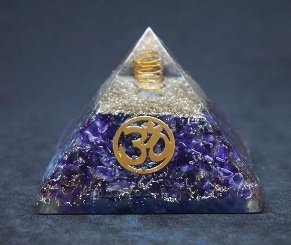 Orgone Pyramid in Amethyst with OM