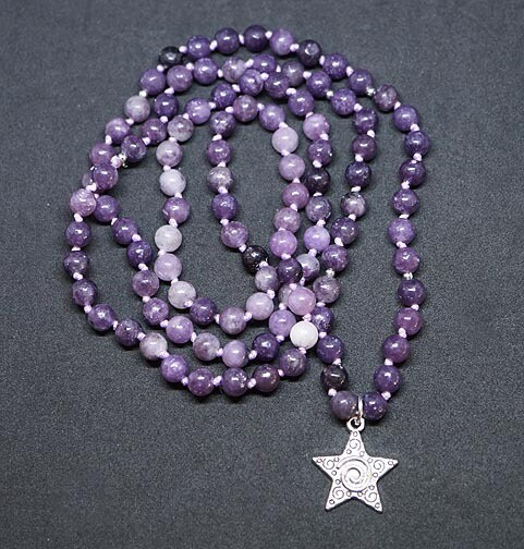 Starburst Lepidolite 108 Prayer Beads