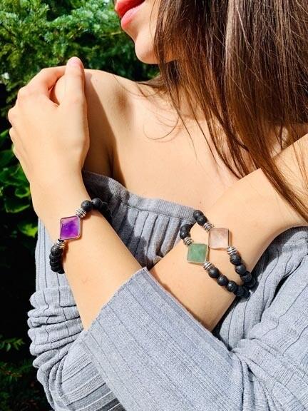 Gemstone Pyramids Bracelets