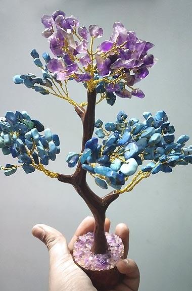 Amethyst and Turquoise Gemstone Tree