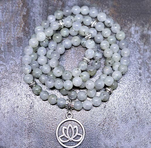 Labradorite  Lotus 108 Prayer Beads