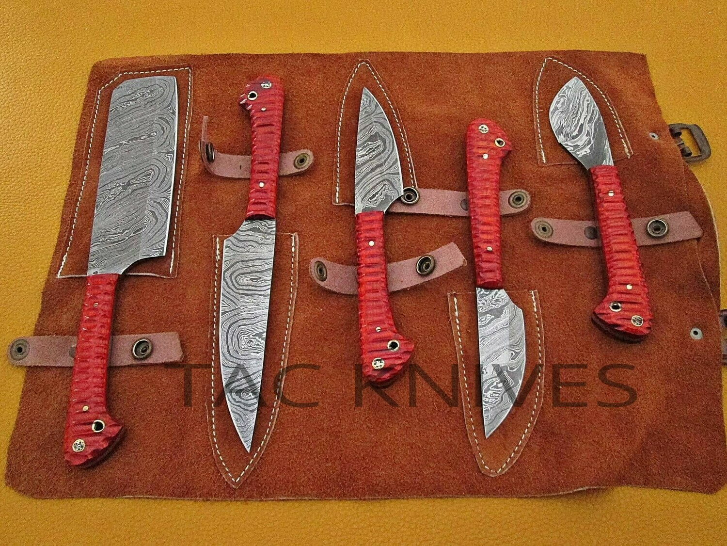 Damascus Kitchen Knife Set With wood Handle And Bag