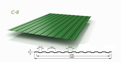 Профнастил зеленый оцинкованный RAL 6005 С-8