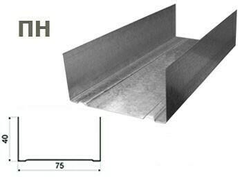 Профиль Эконом 75х40х3м 0,40мм направляющий