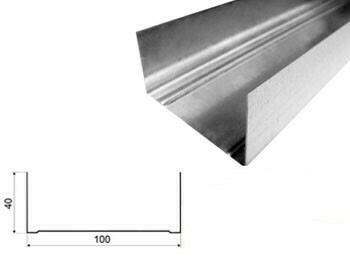Профиль Эконом 100x40х3м 0,40мм направляющий