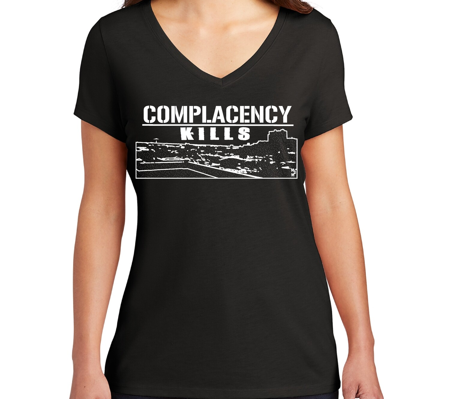 Complacency kills 2.0  Women's V neck