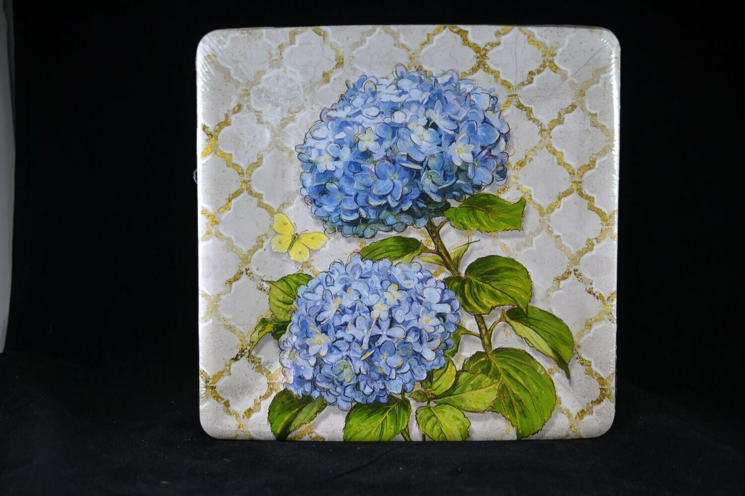 Blue Heirloom Flowers Square Salad Plate