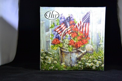 Patriotic Watering Can Luncheon Napkins