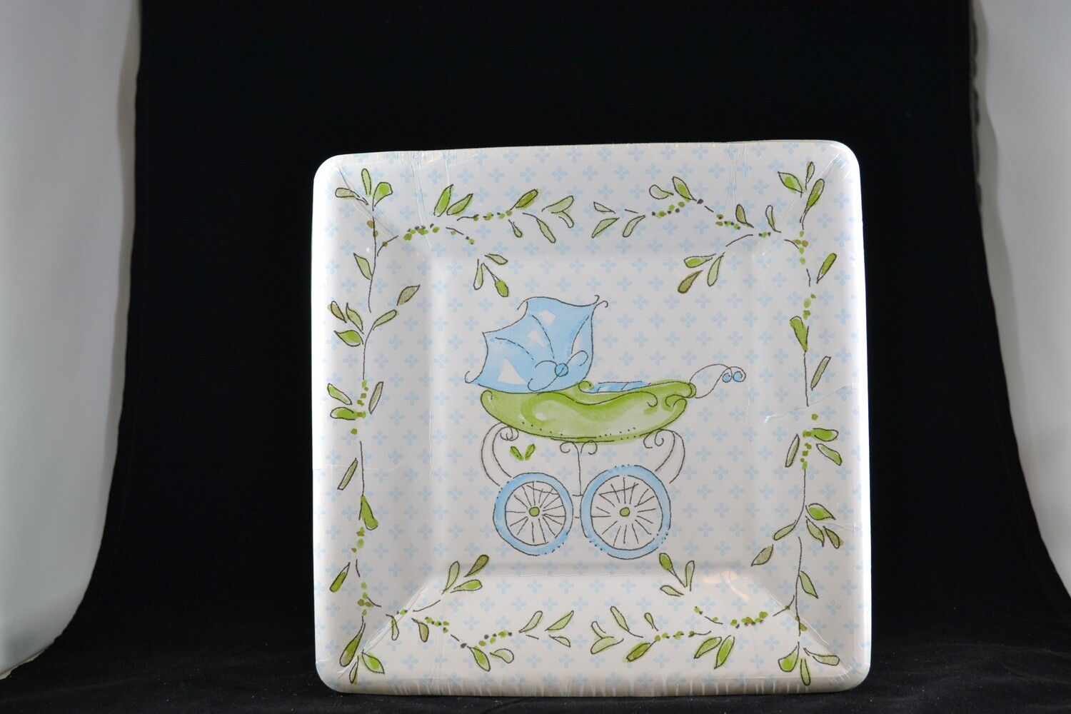 Blue Baby Carriage 8 Salad/desert Plates