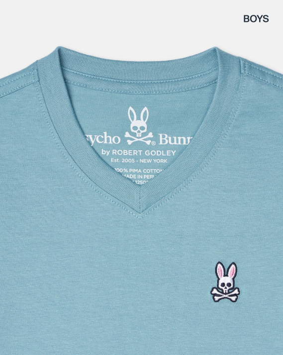 Psycho Bunny boys classic v neck tee - adriatic