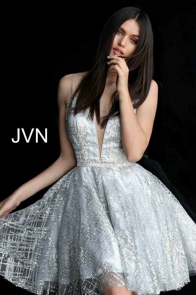 Jovani Glittery Extended A-Line Cocktail Dress in Silver
