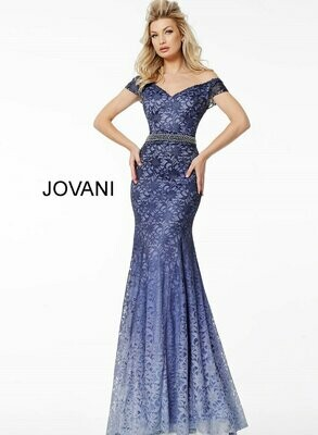 Jovani Ombre Lace Evening Gown in Blueberry