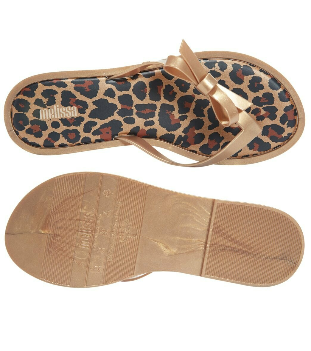 Melissa Flip Flop in Gold, Black and Brown Animal Print