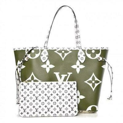 Louis Vuitton Neverfull W Monogram Giant Green Shoulder Bag