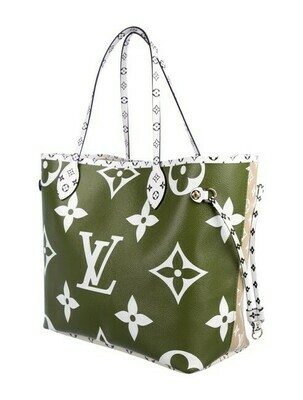 Louis Vuitton Neverfull W Monogram Giant Green Shoulder Bag
