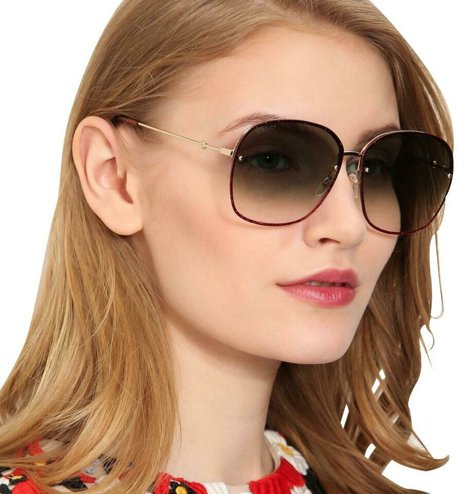 Gucci Gradient Sunglasses Metal In Gold/Red