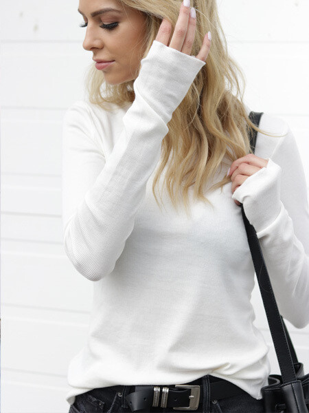 BASIC By PRIV Closer Ribbed Long Sleeve with Thumb Holes in White