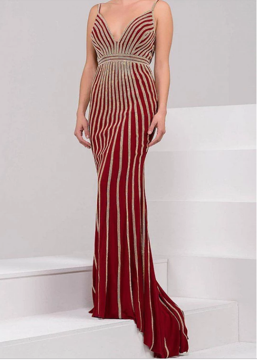 Jovani Embellished Gown in Red With Gold Rhinestones
